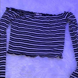 Off-Shoulder Long Sleeve Stripped Crop Top